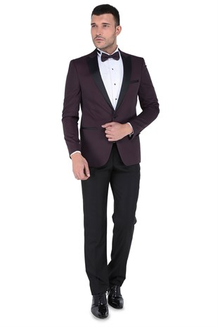 Buenza Kevın Ceremony Mono Kruvaze Slim Fit Smokin Takım - Bordo
